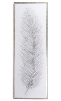 Cuadro Pluma Plata 154 x 54 cm