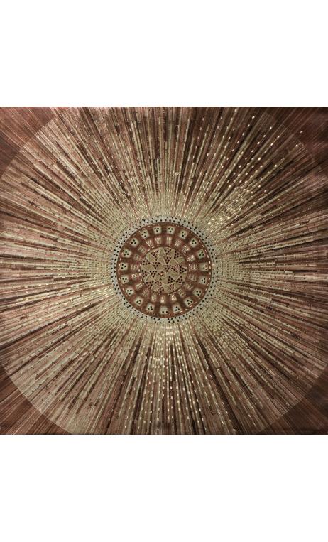 Cuadro Sol rayado marrón 90x90 cm