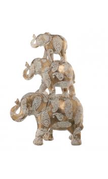 Figura ELEFANTES PIRAMIDE Oro Blanco