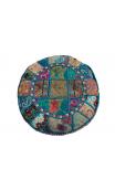 Pouf Éctnico Turquesa bordado 60x60x30cm